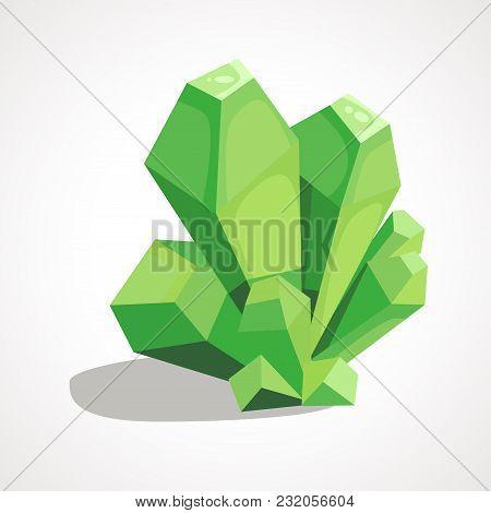Cartoon Green Crystal Jewelry Is A Precious Stone. Vector Illustration.