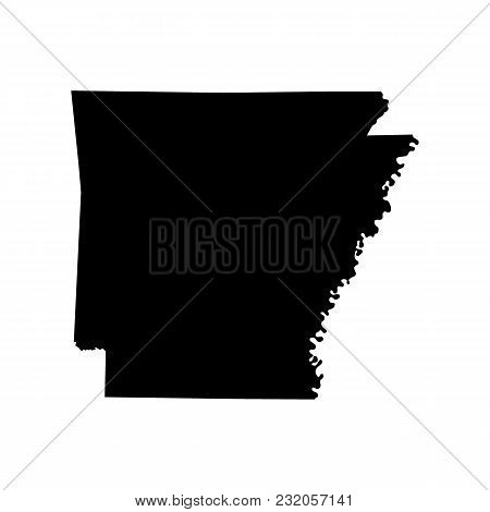 Map Of The U.s. State Of Arkansas On White Background