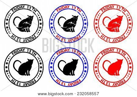 Friday The 13th - Cat - Grunge Rubber Stamp - Black And Red, Friday Thirteenth, Friday 13 - Sticker,