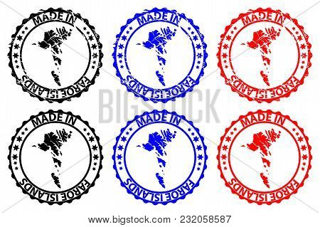 Made In Faroe Islands  - Rubber Stamp - Vector, Faroe Islands  Map Pattern - Black,blue And Red