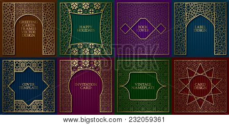 Golden Patterned Frames Set. Vintage Design Of Greeting Cards Backgrounds In Asian Traditional Style