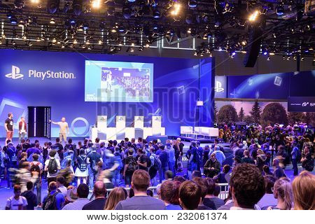 Cologne, Germany - August 24, 2017: Playstation Presentation Of The Company Sony In Front Of A Crowd