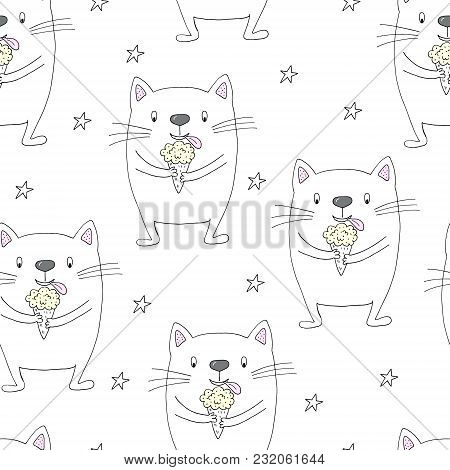 Hand Drawn Seamless Pattern With Cute Cat, Doodle Illustration For Kids, Vector Print