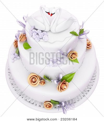 Wedding Cake With Roses And Swans Isolated