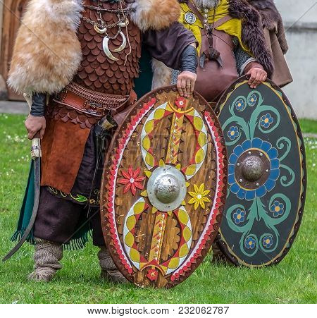 Dacian Soldiers In Battle Costume, Shows Ancient Manufacturing Weapons At Apulum Roman Festival, Org