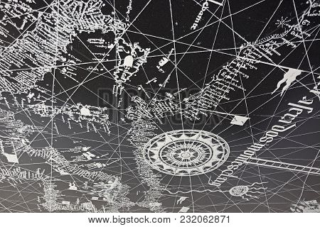 Lagos, Portugal - June 9, 2017 - Map Painted On The Stippled Concrete Ceiling Of The Old Slave Marke