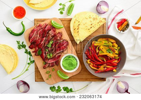 Grilled Flank Stake Fajitas, Mexican Culinary Concept, View From Above, Flat Lay Ready To Eat Food C