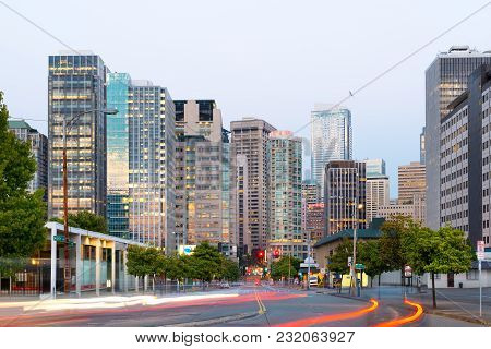 Seattle, Washington State, United States - July 08, 2012: 7th Avenue And Buildings Of Downtown At Du