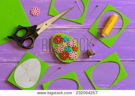 Felt Easter Egg Decor Idea. Handmade Felt Easter Egg With Colored Wooden Flower Buttons. Felt Scrap,