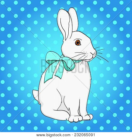 Pop Art Easter Bunny. Comic Book Style Imitation. Vintage Retro Style. Conceptual Illustration. Obje