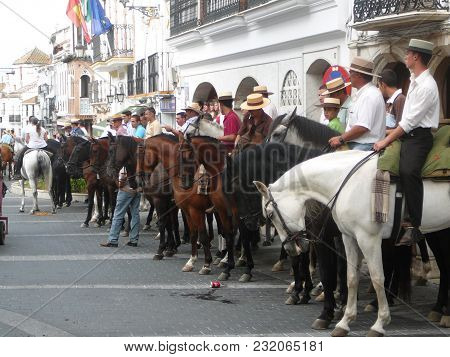 Alora, Spain - August 08, 2011: Horses And Riders Waiting For Local Patron Saint In Andalusian Villa
