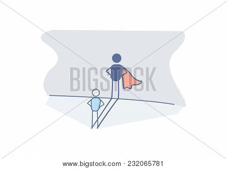 Character with a super hero shadow representing success in life, preserverance, courage, promotion at work, ambition. Vector doodle illustration with stick figure character