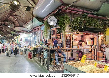 Jerusalem, Israel, September 10, 2015 :  Visitors Sit At The Table In The Bar In The Mahane Yehuda M