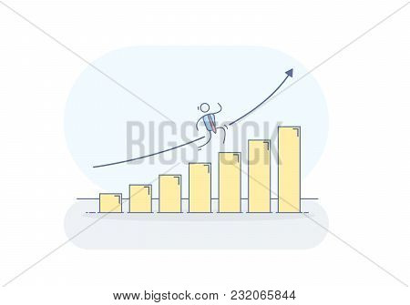Vector illustration with businessman character climbing a graphic that keeps growing like a ladder to success. Financial chart going up.