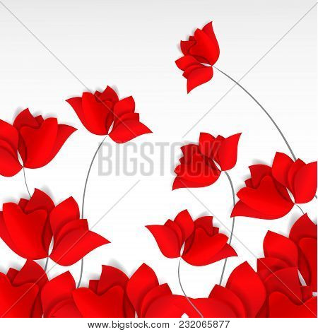 Bright Paper-cut Style Red Flowers Field On White Background. 3D Vector, Card, Happy, Spring, Summer