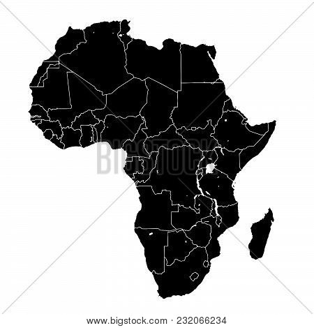 Africa Silhouette Vector Map. Black And White Version Usable For Travel Marketing, Real Estate And E
