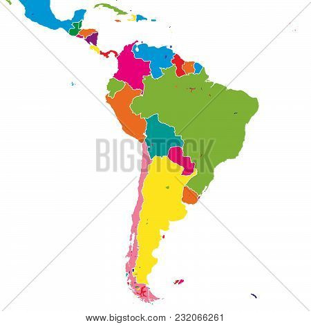 South America Colorful Vector Map. Political Version Usable For Travel Marketing, Real Estate And Ed