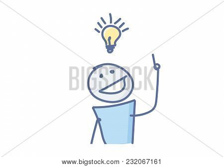 Stick figure having a creative idea with a light bulb over his head. Vector illustration