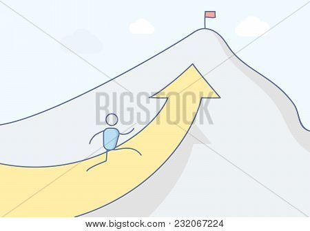 Cartoon stickman character climbing the mountain towards its peak where a flag stands symbolizing success. Vector concept illustration design in eps10