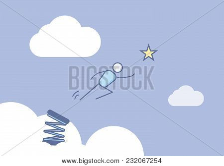 Stick figure jumping in the sky ready to reach the star. Vector illustration for different concepts