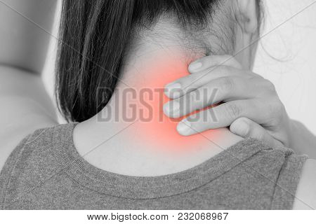 Closeup Woman Neck And Shoulder Pain And Injury With Red Highlights On Pain Area. Health Care And Me