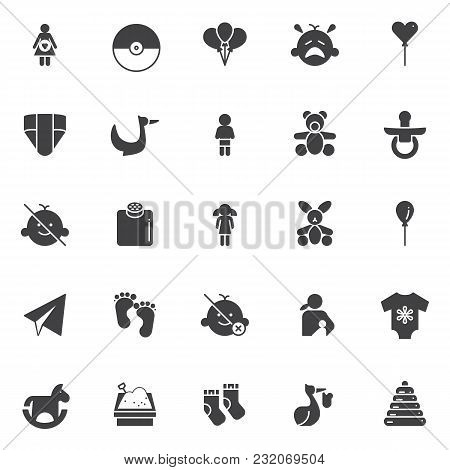 Baby Vector Icons Set, Modern Solid Symbol Collection, Filled Style Pictogram Pack. Signs, Logo Illu
