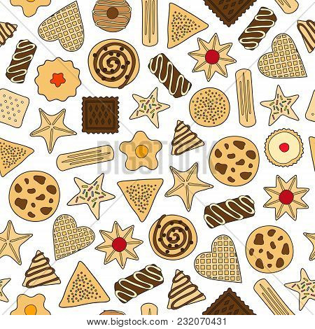 Seamless Pattern With Different Colorful Doodle Cookies.