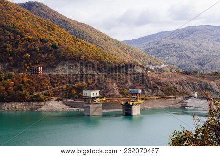 Magic Enchanting Nature, Mountains And Hills Are Covered With Trees, A Blue River