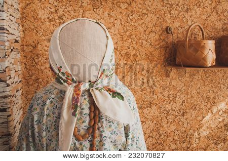 Large Doll Without A Face In A Traditional Dress, Handkerchief With Patterns, Jewelry From Acorns