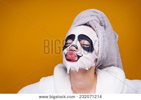 Funny Young Girl With Towel On Her Head, Face Mask With Animal Face