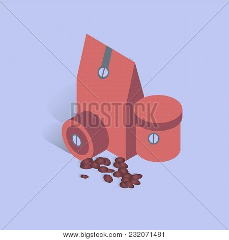 Vector Illustration With 3d Coffee Coffee Present Box With Beans In Isometric Flat Style. Paper Cup