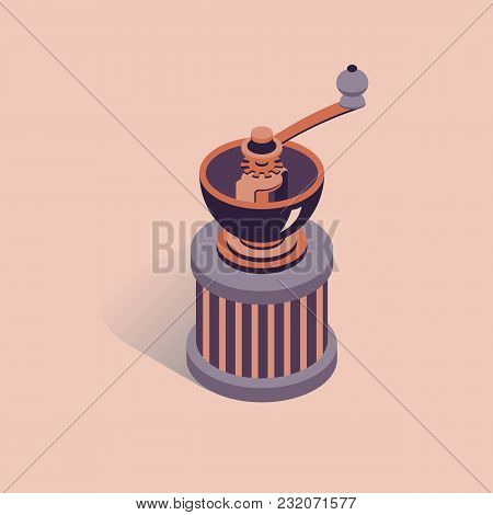 Vector Illustration With 3d Coffee Grinder. Coffee Mill In Isometric Flat Style. Vintage Mill On Pin