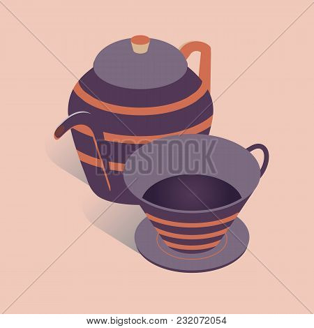 Vector Illustration With 3d Coffee Or Tea Pot With Cup. Kettle In Isometric Flat Style On Pink Backg
