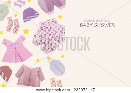 Origami Baby Girl Shower Newborn Clothes Present On A Cream Background