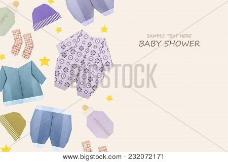 Origami Baby Boyshower Newborn Clothes Present On A Cream Background