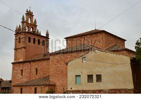 Beautiful Bell Tower In This Picturesque Village With Its Black Slate Roofs In Madriguera. Architect