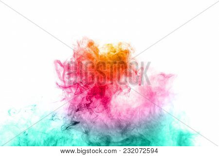 Abstract Multicolored Smoke On Black Background. Abstract Bright Colorful Smoke On Background. Color