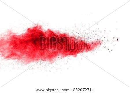 Abstract Explosion Of Red Dust  On White Background. Abstract Red Powder Splatter On   Background. F