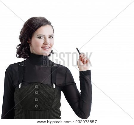 Business Woman Showing A Point On A Blank Screen. Business Concept