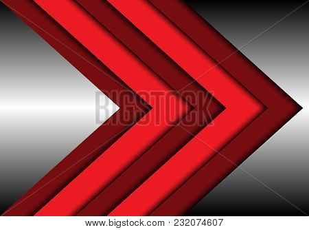 Abstract Red Tone Arrow Overlap On Metal Design Modern Futuristic Background Vector Illustration.
