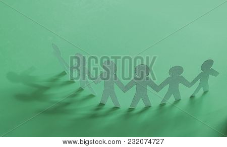Business Background.group Paper Man On A Green Background