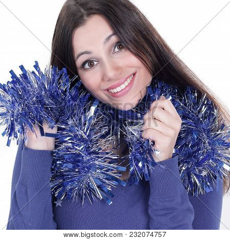 Closeup.pretty Girl With Christmas Tinsel .isolated On White Background