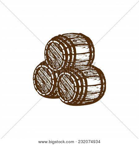 Vector Hand Sketched Wooden Barrels Illustration. Nautical Background. Beer Or Wine Symbol.