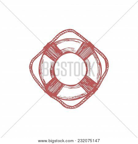 Drawn Illustration Of Lifebuoy In Vector. Marine Background. Naval Symbol