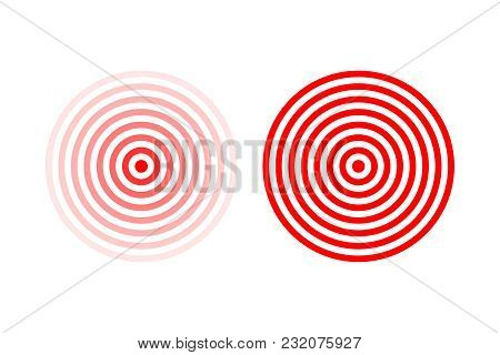 Targets Or Pain Location Symbol Set. Red Vector Pain Location Signs Isolated On White Background