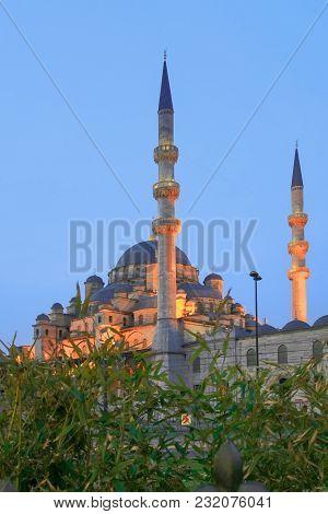 Yeni Cami Mosque In The Evening Illumination.  Istanbul, Turkey.