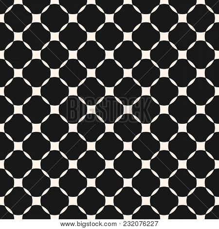 Vector Geometric Grid Seamless Pattern. Abstract Monochrome Texture With Mesh, Lattice, Rounded Shap