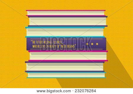 Future Dreams Philosophical Quote Motivation Phrase. Motivator Wish Template. Book Stack Cover Desig