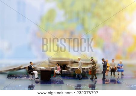 Miniature People: Business Person  Waiting For Interview. Employer Of Choice, Candidate Selection, A