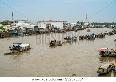 Traditional Floating Market On Mekong Delta